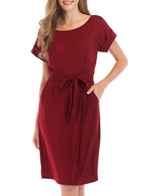 Rolled Sleeve Pocket Belted Dress - RED WINE XL