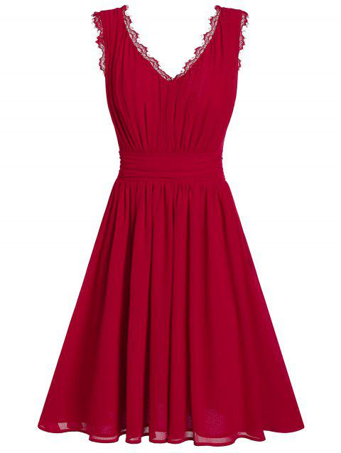 Shirred Solid Pleated Chiffon Dress - LAVA RED 2XL