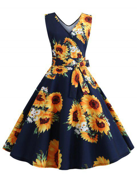 V Neck Sunflower Print Belted Flare Dress - CADETBLUE 2XL