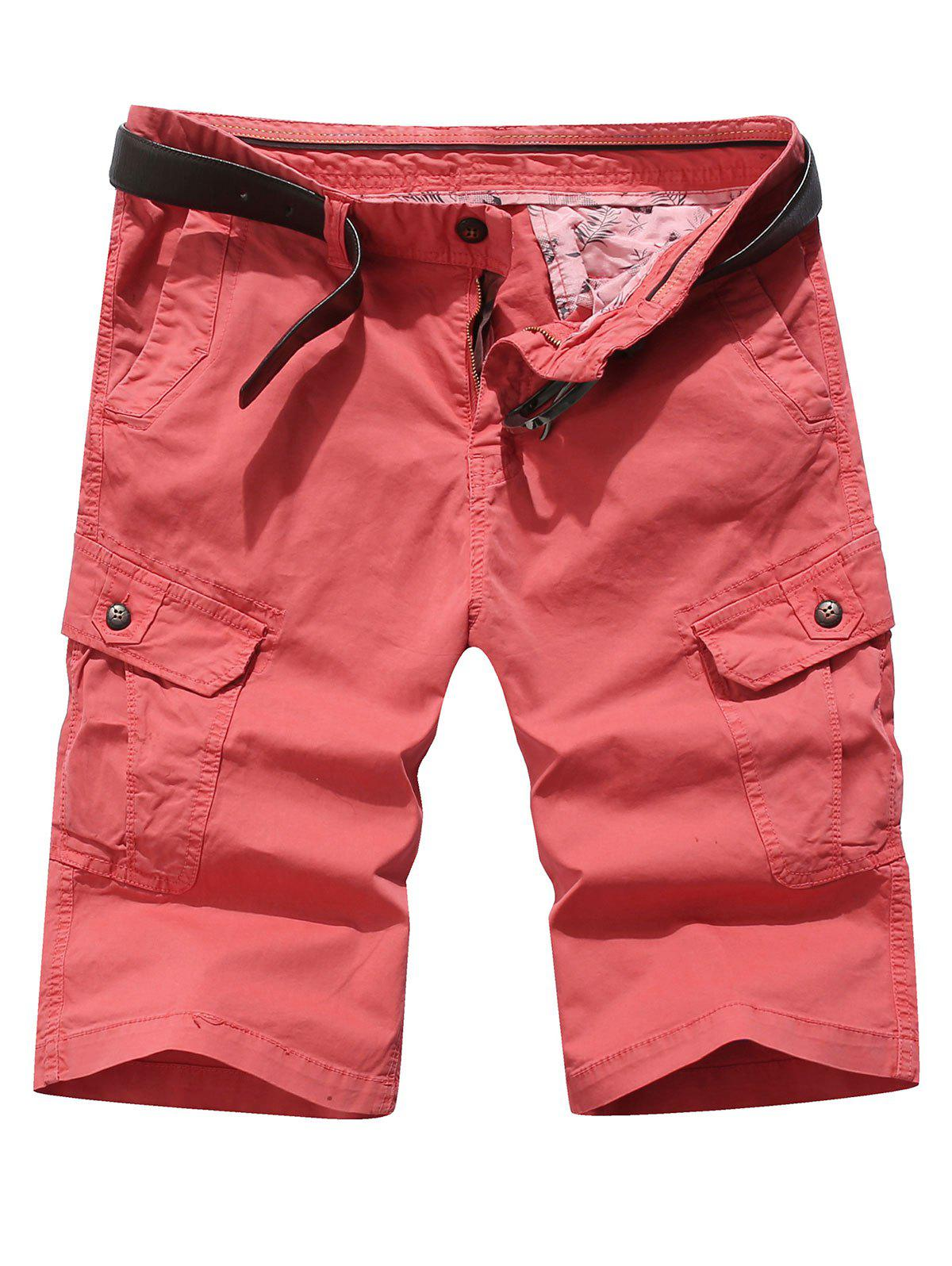 Solid Color Pocket Cargo Shorts - BEAN RED 32