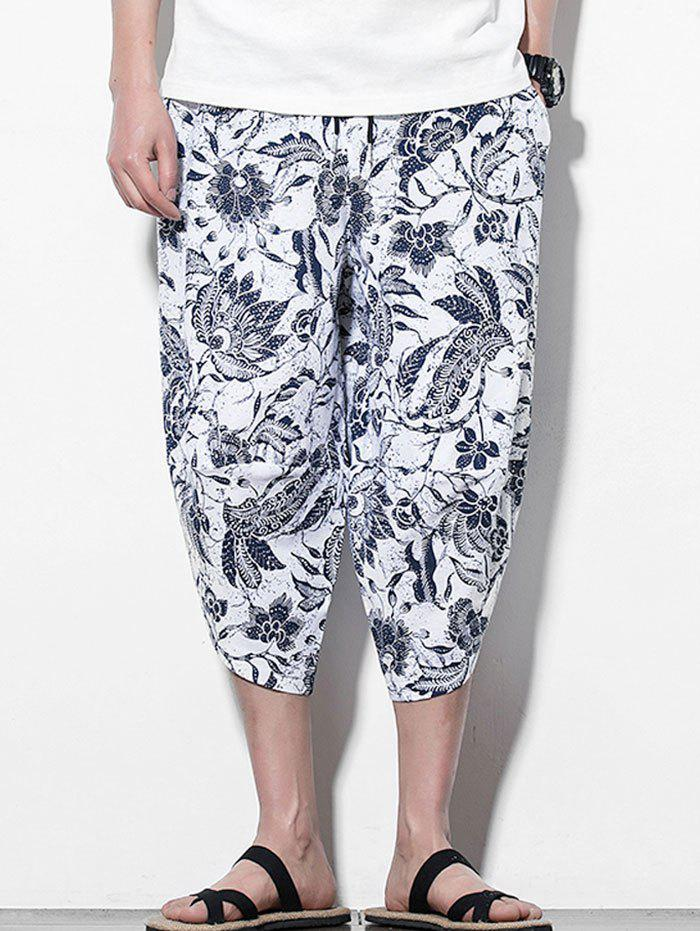 Flower Printed Casual Harem Pants - WHITE 4XL