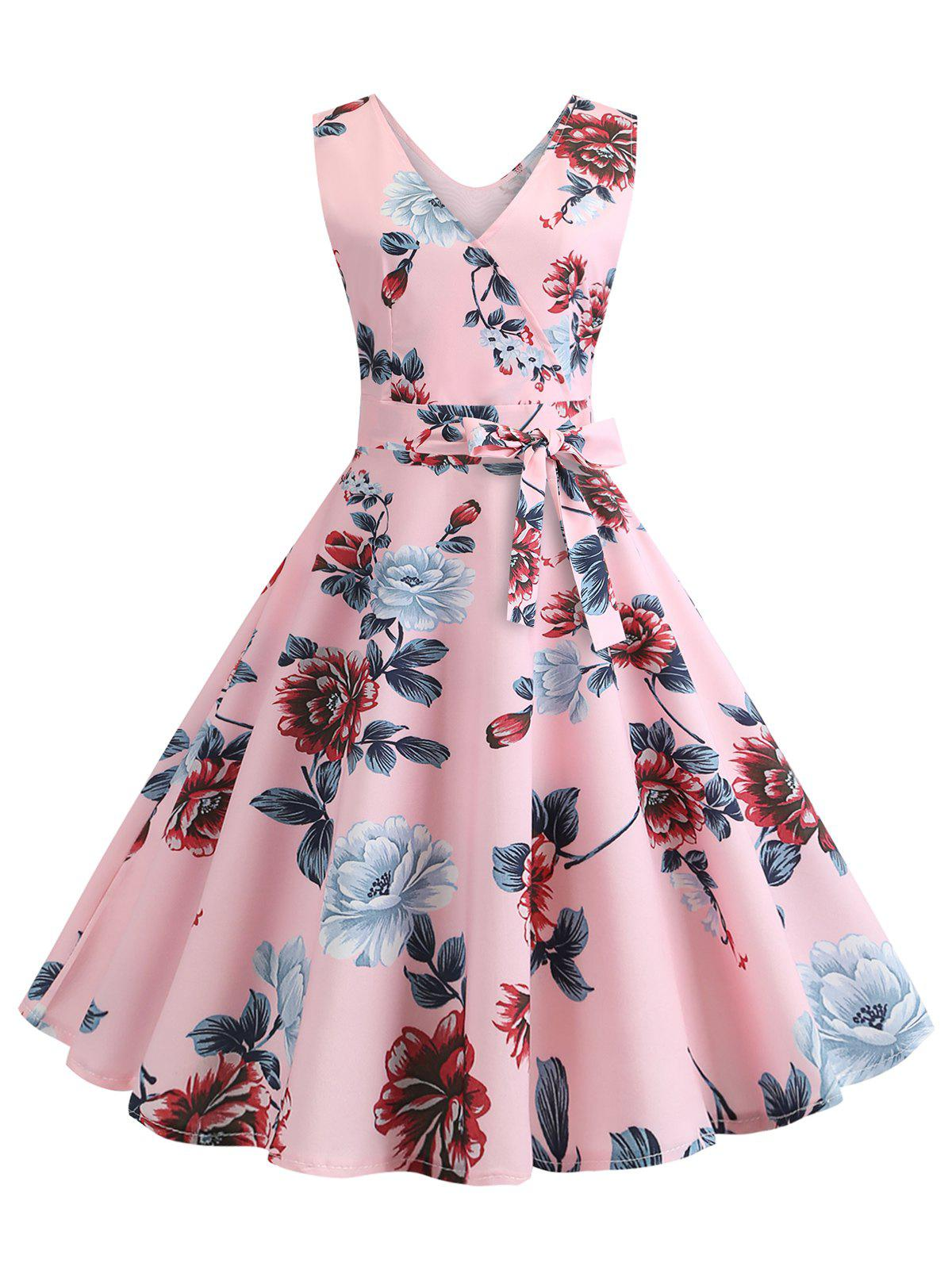 V Neck Floral Print Belted Flare Dress - PINK S