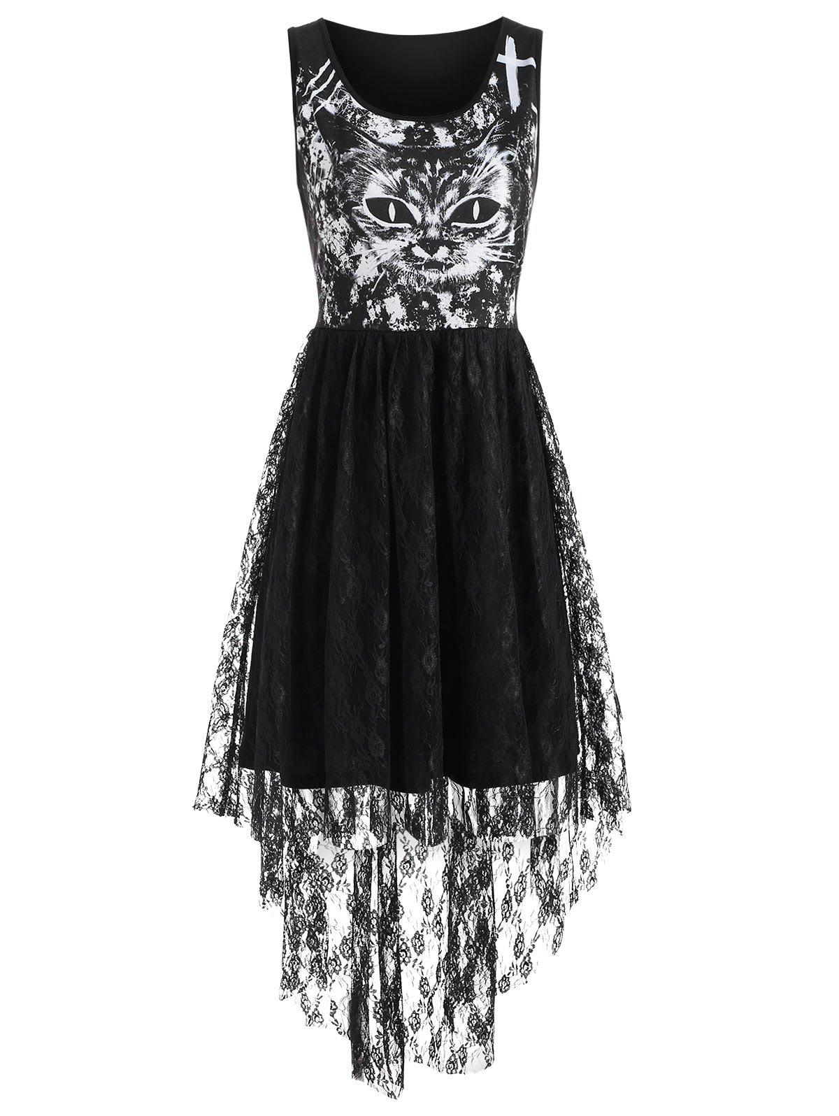 Cat Print Lace Insert High Low Dress - BLACK 2XL