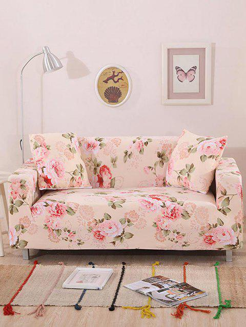 Flower Leaf Print Couch Cover - PINK TWO SEATS