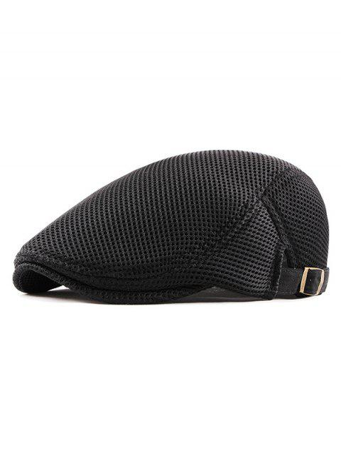 Mesh Trim Solid Color Design Beret - BLACK