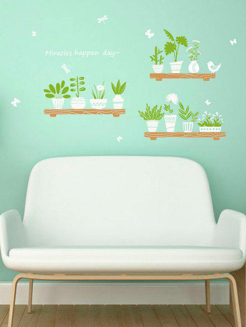 Fresh Plant Potted Decoration Wall Sticker - multicolor