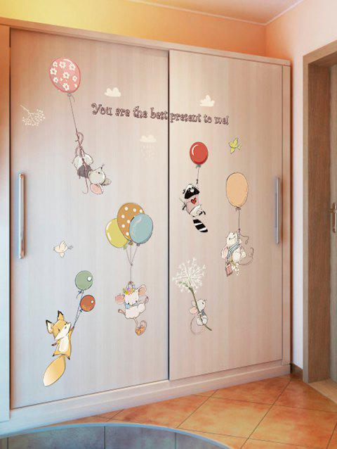 Cartoon Balloon Mouse Decorative Wall Stickers - multicolor