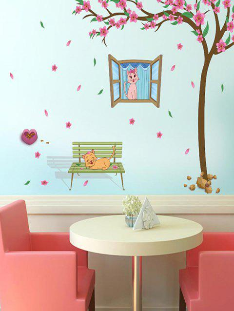 Flower Tree Cats Print Removable Wall Art Stickers - multicolor