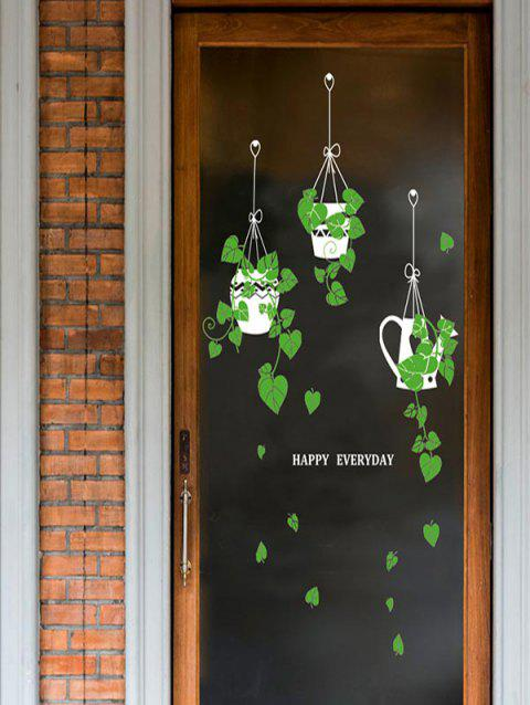 Hanging Basket Potted Plant Print Removable Wall Art Stickers - multicolor