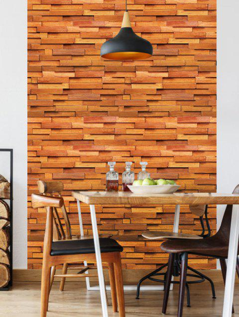 Wooden Pattern Wall Stickers - multicolor