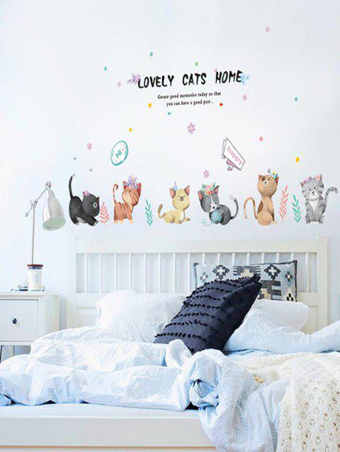 Cartoon Cats Print Removable Wall Art Stickers - multicolor
