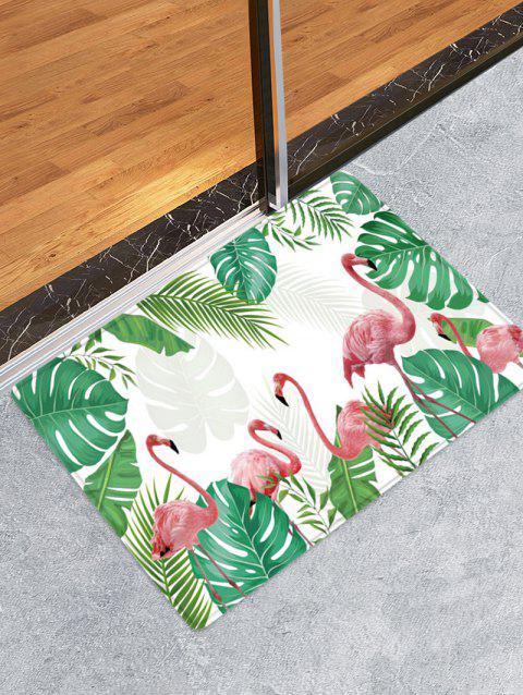 Tropical Leaves Flamingo Pattern Water Absorption Area Rug - CLOVER GREEN W24 X L35.5 INCH