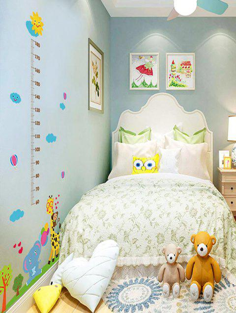 Cartoon Animals Print Removable Height Wall Art Stickers - multicolor