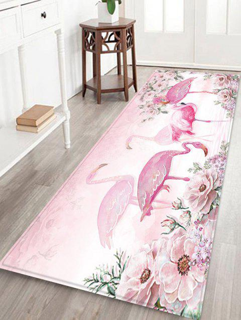 Flamingo and Flowers Pattern Water Absorption Area Rug - PIG PINK W24 X L71 INCH