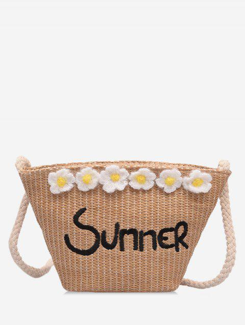 Straw Summer Flower Pattern Shoulder Bag - LIGHT BROWN