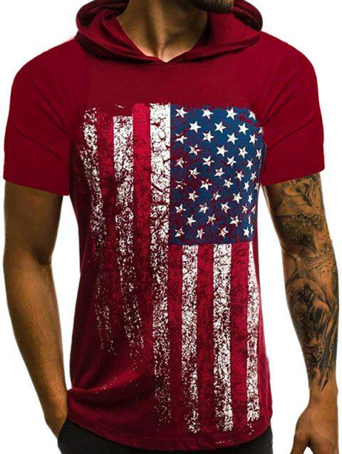 American Flag Hooded T Shirt - RED WINE L