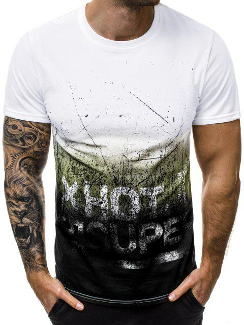 Letter Graphic Ombre T Shirt - GREEN L