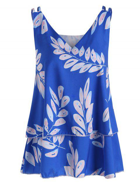 Leaf Print Layered Tank Top - BLUE XL
