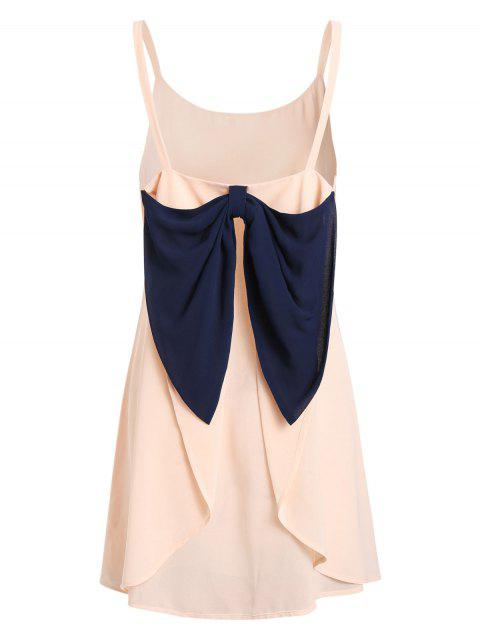 Mini Bowknot Draped Cami Chiffon Dress - ORANGE PINK 2XL