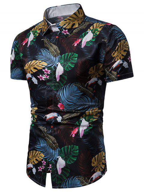 Short Sleeve Tropical Print Shirt - BLACK 3XL