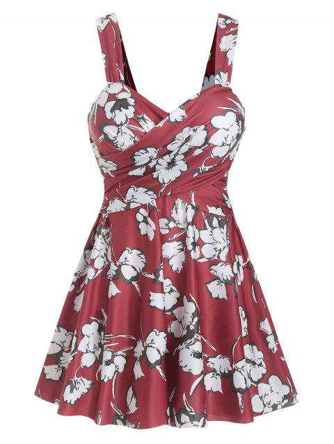 Cross-over Floral Underwire Tankini Set - RED M