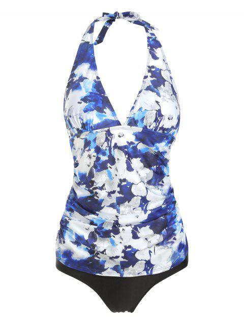 Ruched Floral Halter Tankini Set - multicolor A S