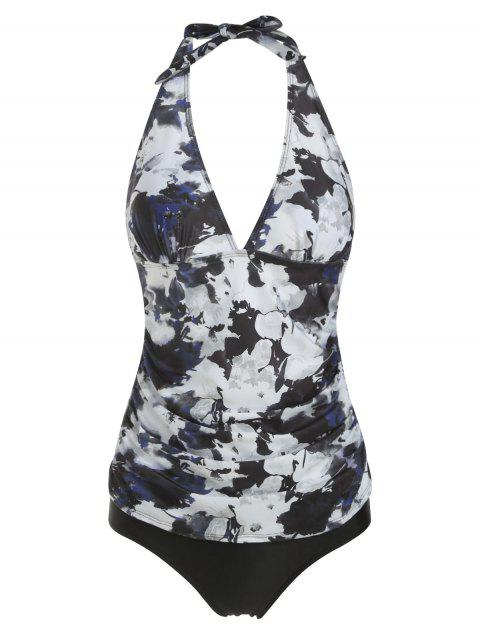 Ruched Floral Halter Tankini Set - multicolor B XL