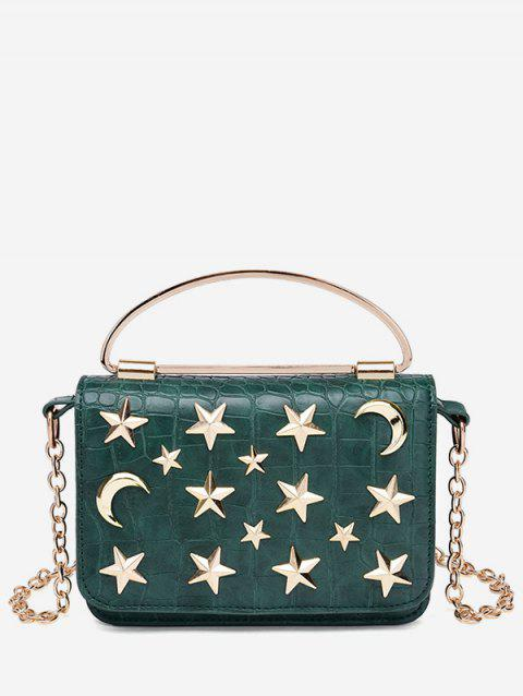Star Crescent Rivet Chain Shoulder Bag - GREEN