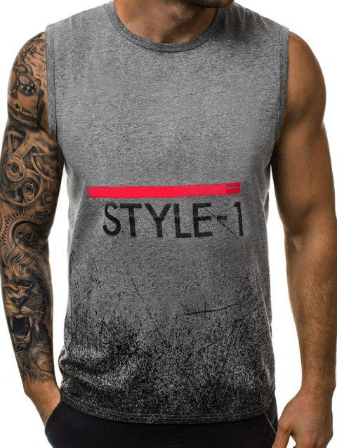 Splatter Letter Graphic Tank Top - GRAY 2XL