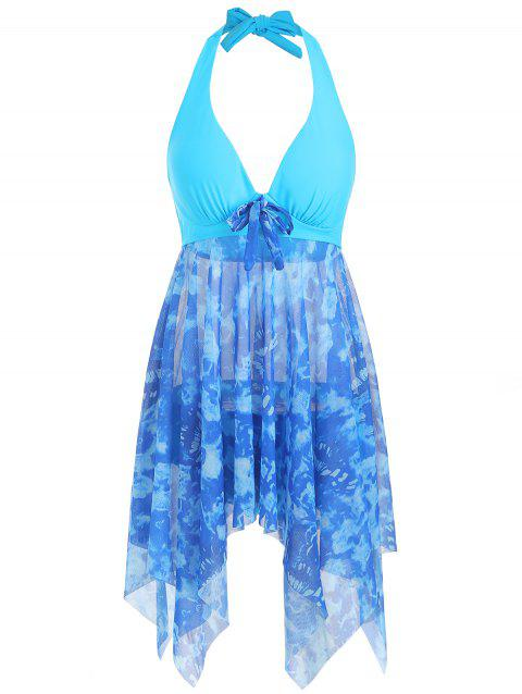 Bowknot Printed Asymmetrical Tankini Set - DAY SKY BLUE L