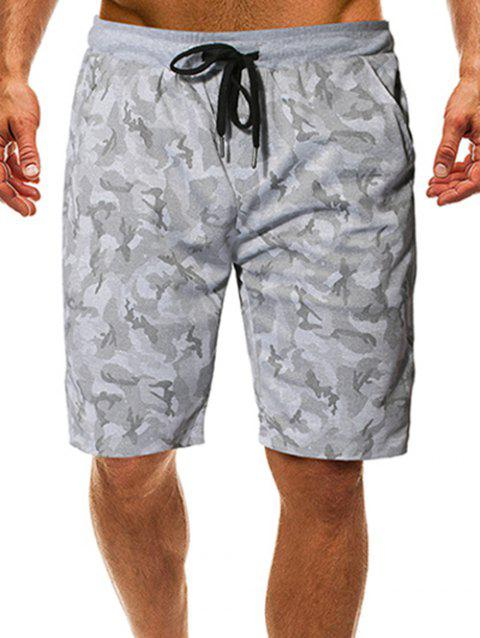 Drawstring Camouflage Print Shorts - LIGHT GRAY S