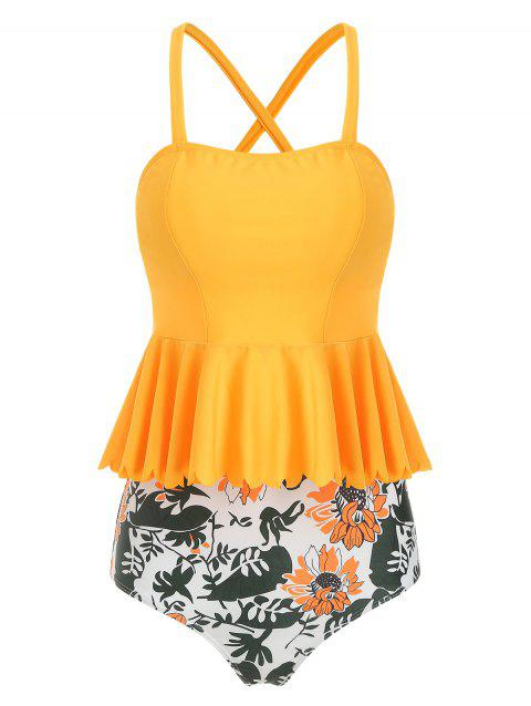 Scalloped Trim Floral Peplum Tankini Set - YELLOW M