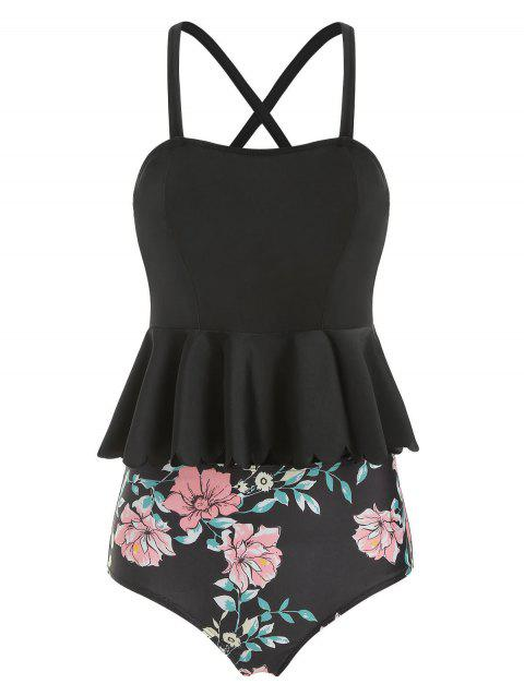 Scalloped Trim Floral Peplum Tankini Set - BLACK L