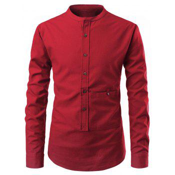 Solid Color Button Up Pollover Shirt