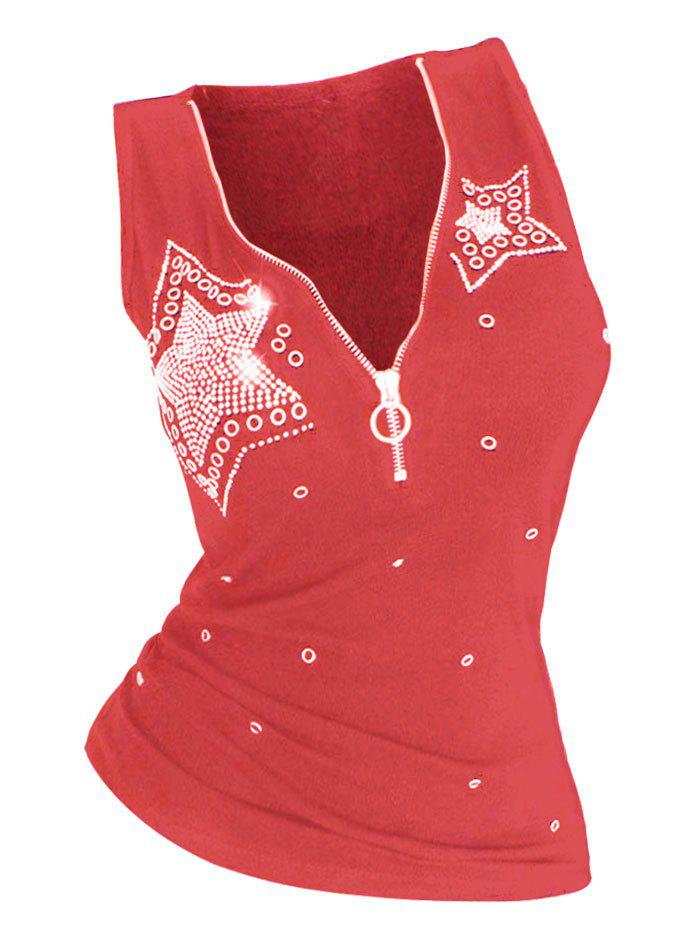 Plus Size Star Rhinestone Embellished Half Zip Tank Top - RED 3X