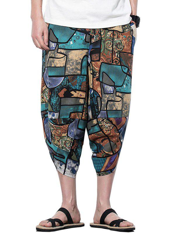 Geometric Printed Casual Harem Pants - multicolor A XL