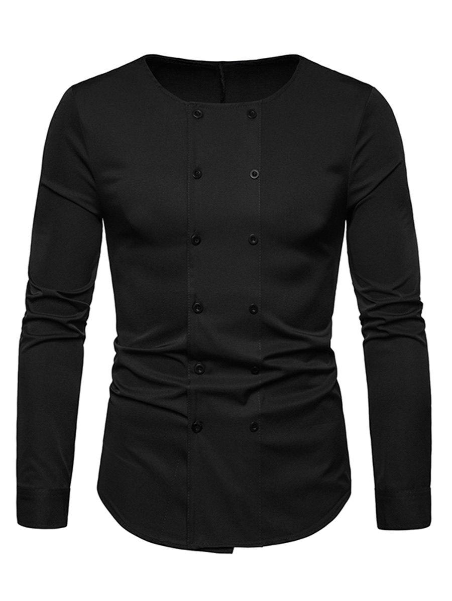 Long Sleeves Double Buttons Shirt - BLACK M