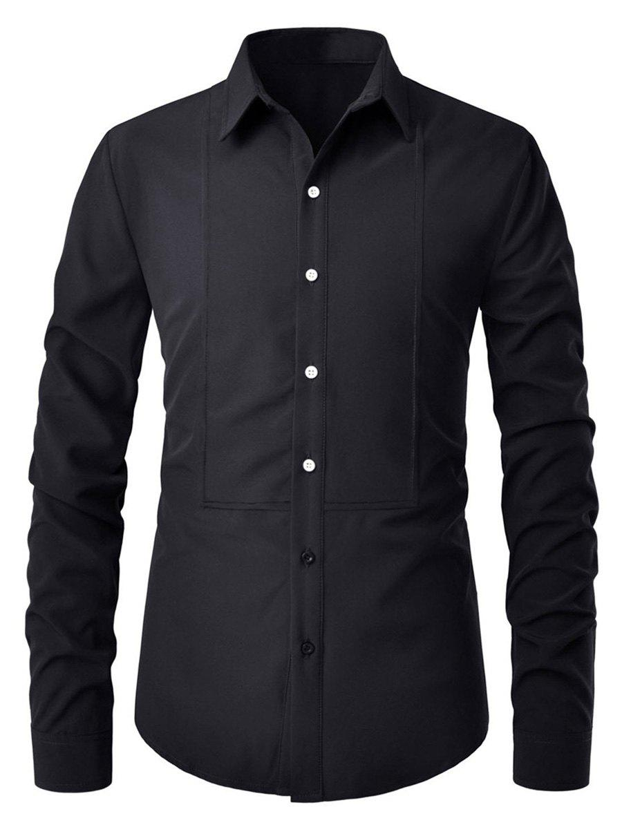 Solid Color Button Up Turn-down Collar Shirt - BLACK 2XL