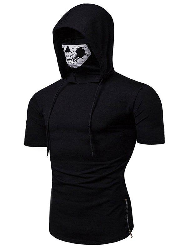 Skull Mask Hooded Short Sleeve T Shirt - BLACK M
