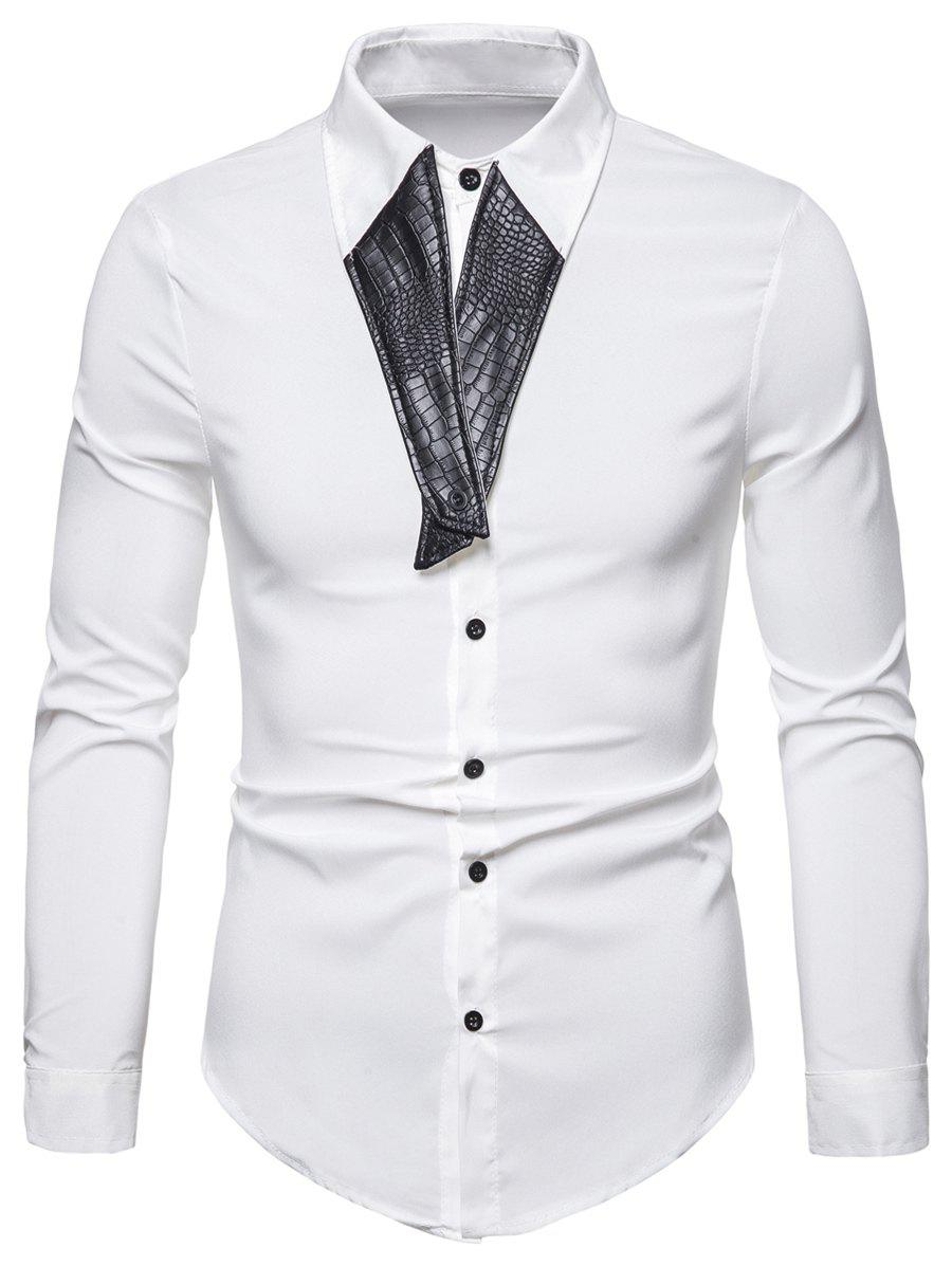 Faux Leather Design Button Up Shirt - WHITE XS