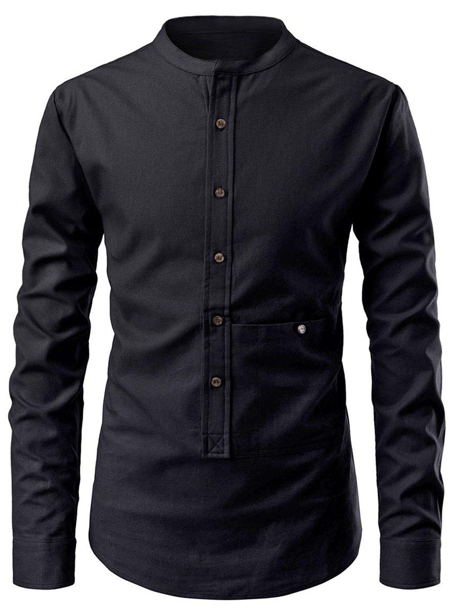 Solid Color Button Up Pollover Shirt - BLACK M