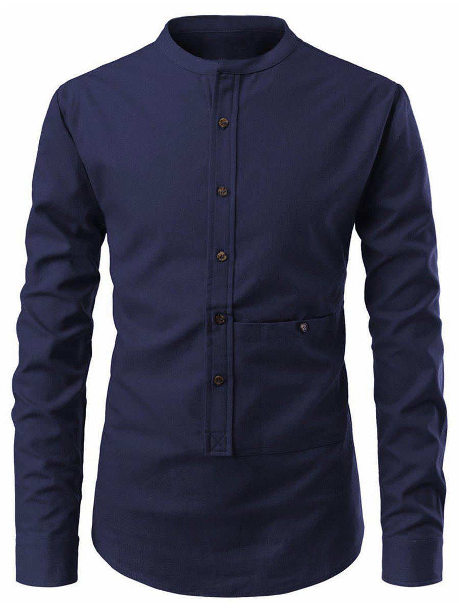 Solid Color Button Up Pollover Shirt - CADETBLUE XS