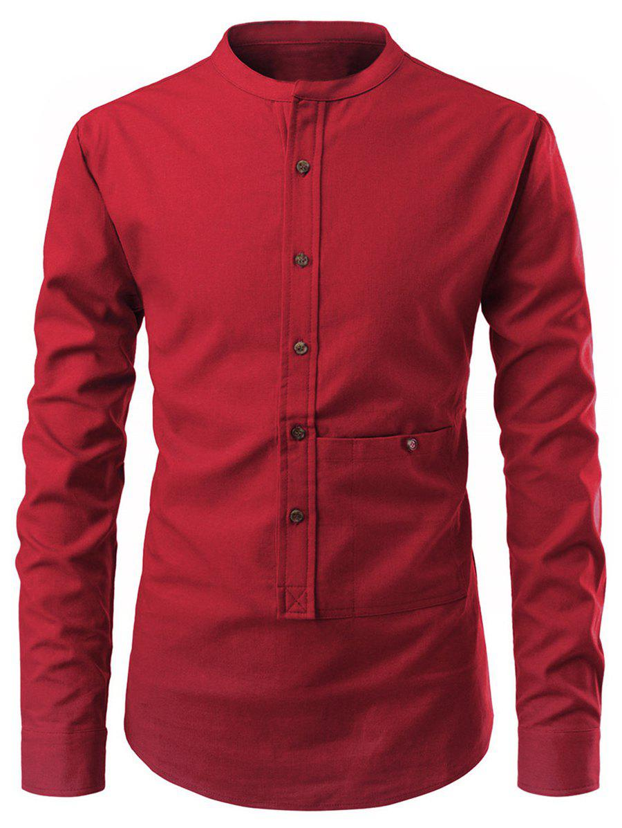Solid Color Button Up Pollover Shirt - RED S