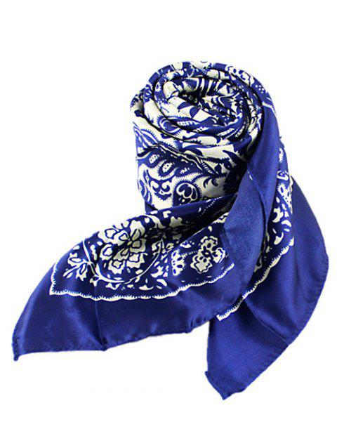 Chinese Style Flower Print Square Scarf - BLUE
