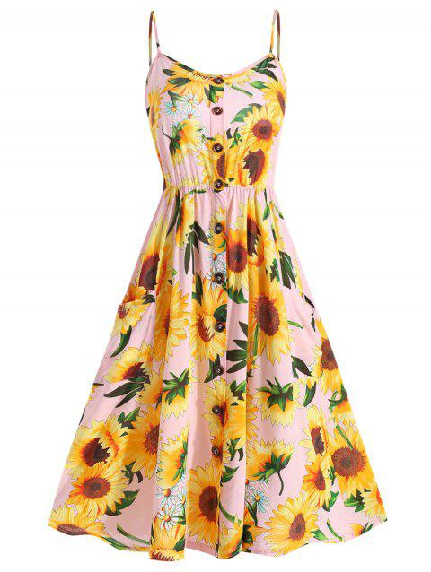 d66577acdfcb 47% OFF] 2019 Plus Size Sunflower Print A Line Dress In PIG PINK ...