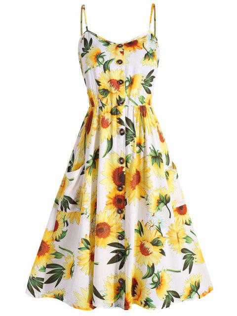 ed2746cf75bb 47% OFF] 2019 Plus Size Sunflower Print A Line Dress In WHITE ...
