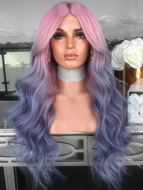 Middle Part Ombre Long Colormix Wavy Cosplay Synthetic Wig - multicolor 26INCH
