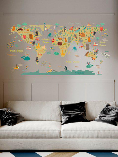 Cartoon Animal World Map Printed Removable Wall Art Stickers - multicolor