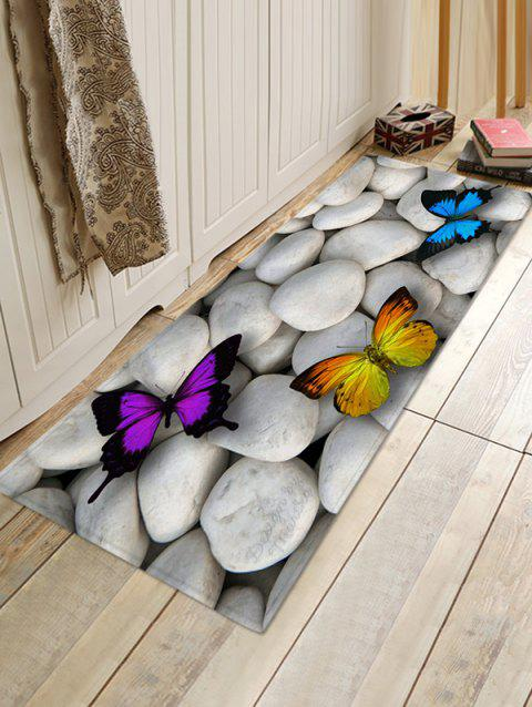 Stones and Butterfly Pattern Water Absorption Area Rug - ASH GRAY W16 X L47 INCH