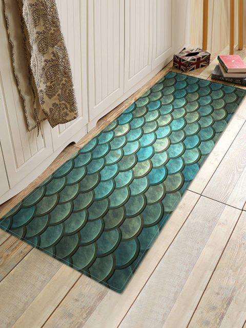 Mermaid Scale Print Bath Floor Mat - GRAYISH TURQUOISE W16 X L47 INCH